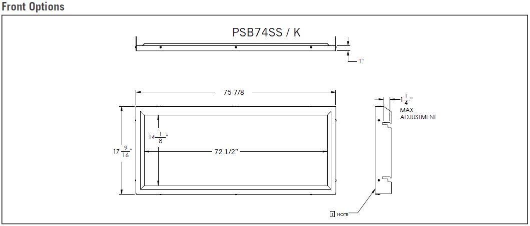 Front dimensions diagram for Napoleon Vector 74 LV74N LV74N2
