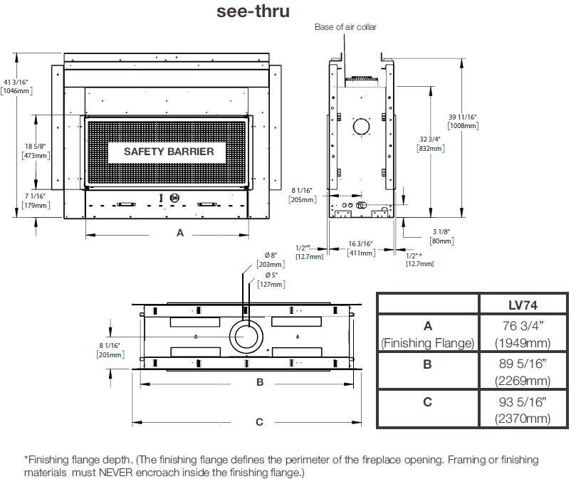 Dimensions diagram for Napoleon Vector 74 LV74N2