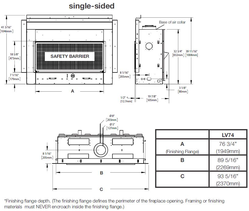 Dimensions diagram for Napoleon Vector 74 LV74N