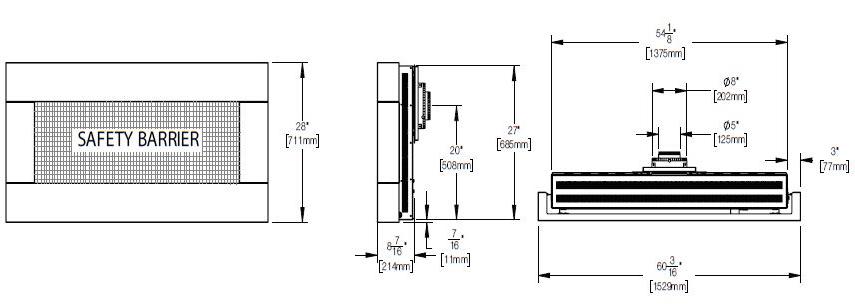 Dimensions diagram for Napoleon Plazamfire 48 WHD48