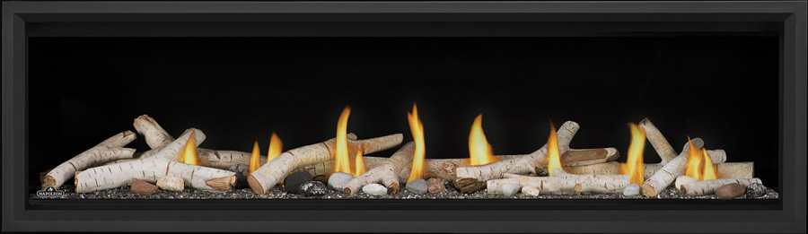 Image of Napoleon Vector Linear 62 LV62 with Birch Logs, Topaz Glass, and Black Premium Safety Barrier