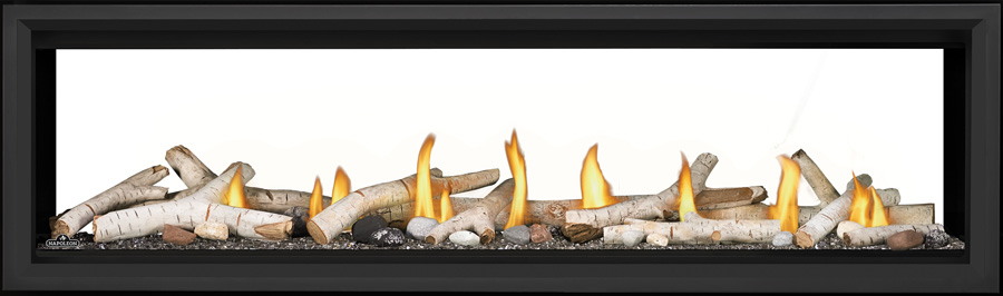 Image of Napoleon See-Through Vector Linear 62 LV62 with Birch Logs, Topaz Glass, and Black Premium Safety Barrier