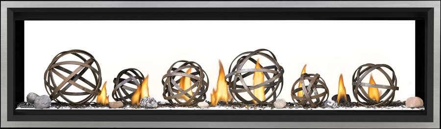 Image of Napoleon See-Through Vector Linear 62 LV62 with Wrought Iron Globes, Shore Fire Kit, and Brushed Stainless Steel Premium Safety Barrier
