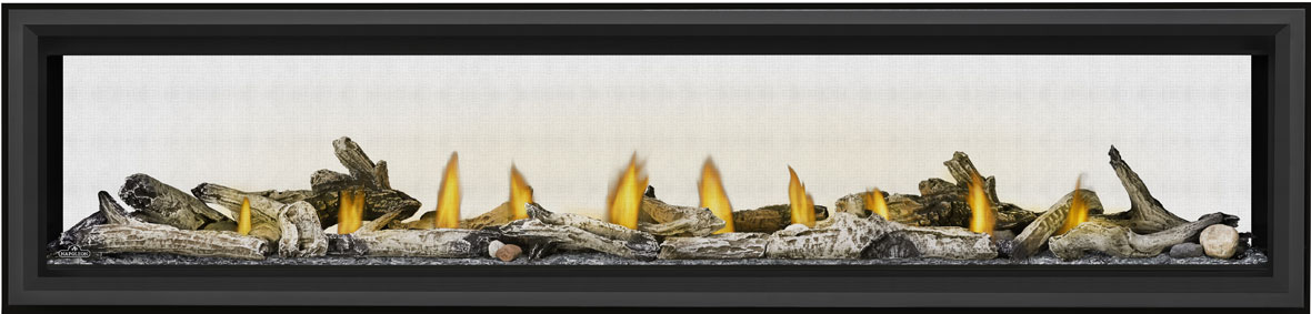 Image of Napoleon See-Through Vector Linear 74 LV74 with Beach Fire Logs, Glass Beads, and Black Premium Safety Barrier