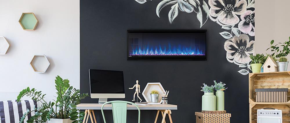Napoleon Alluravision 42 Slimline electric fireplace hung on bedroom wall NEFL42CHS