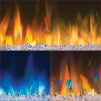 Image of the Four Flame Colors available in the Alluravision Electric Fireplace: Orange, Yellow, Blue, and Multi-Color