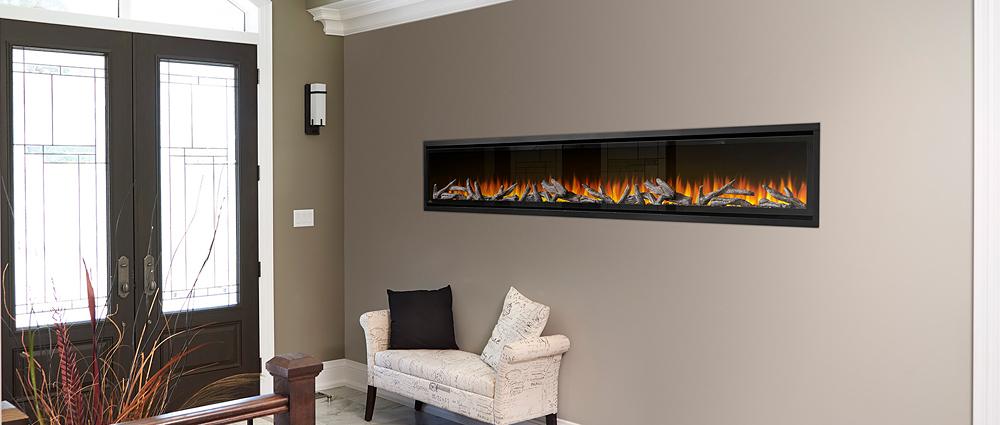 Napoleon Alluravision 100 Deep Depth electric fireplace recessed into foyer wall NEFL100CHD