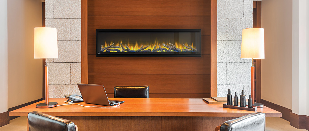 Napoleon Alluravision 60 Deep Depth electric fireplace hung in office alcove wall NEFL60CHD
