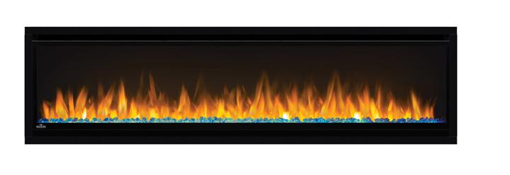 Image of Napoleon Alluravision 60 NEFL60CHS Slimline shown with Crystal Cubes, Blue LED Lights and Orange Flames