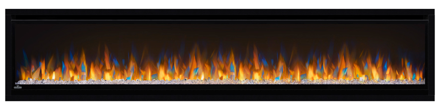 Image of Napoleon Alluravision 74 NEFL74CHS Slimline shown with Crystal Cubes and Multi-Color Flames