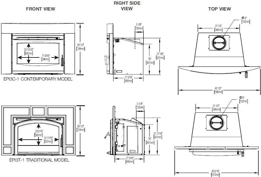 Dimension diagrams of Napoleon Oakdale EPI3-1 series wood burning fireplace inserts