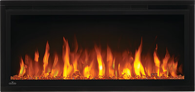 Image of Napoleon Entice 36 electric fireplace with Crystal Media and Orange Flames