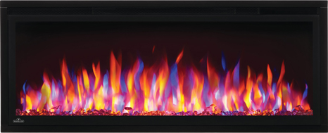 Image of Napoleon Entice 42 electric fireplace with Crystal Media and Multi-color Flames NEFL42CFH