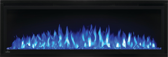 Image of Napoleon Entice 50 electric fireplace with Crystal Media and Blue Flames NEFL50CFH