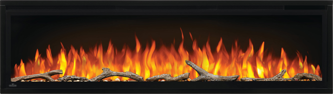 Image of Napoleon Entice 60 electric fireplace with Driftwood Logs and Orange Flames NEFL60CFH
