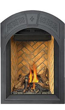 Image of Napoleon Park Avenue GD82NT-PA shown with Arched Black Heritage Surround with Safety Barrier, Sandstone Herringbone Decorative Brick Panels