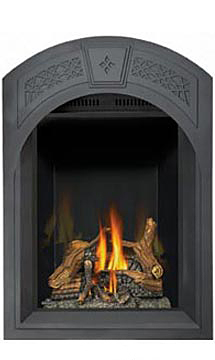 Image of Napoleon Park Avenue GD82NT-PA shown with Arched Black Heritage Surround with Safety Barrier, MIRRO-FLAME Porcelain Reflective Radiant Panels