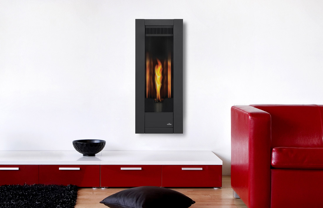 Napoleon Torch GT8 gas fireplace in living room with metallic black surround