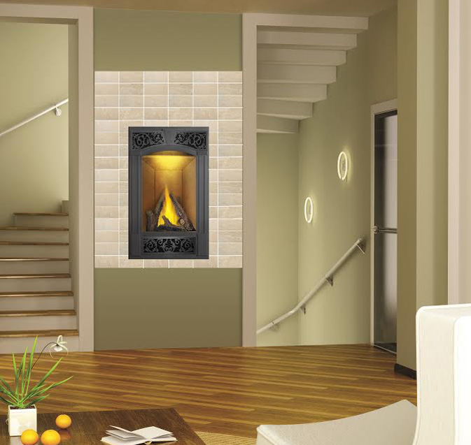 Image of Napoleon Vittoria GD19 gas fireplace installed between stairwells