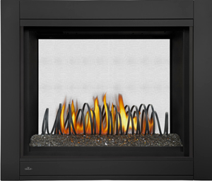 Napoleon Ascent Multi-View BHD4 See-Thru shown with Art Metal Coil Designer Fire Art