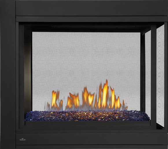 Image of Napoleon Ascent Multi-View BHD4 Three-sided Peninsula Model, MIRRO-FLAME™ Porcelain Reflective Radiant Panels, Linear Glass Burner, Blue Glass Embers