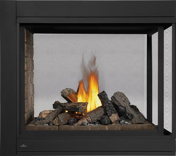 Image of Napoleon Ascent Multi-View BHD4 Three-sided Peninsula Model, Newport™ Decorative Brick Panels, PHAZER® Log Set