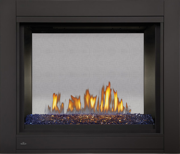 Image of Napoleon Ascent Multi-View BHD4 See-Thru Model, MIRRO-FLAME™ Porcelain Reflective Radiant Panels, Linear Glass Burner, Blue Glass