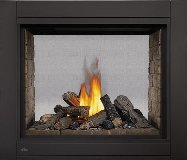 Image of Napoleon Ascent Multi-View BHD4 See-Thru Model, Newport™ Decorative Brick Panels, PHAZER® Log Set