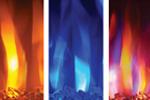 Image showing three flame colors for Napoleon Entice: orange, blue, multi-color