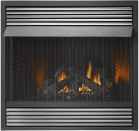 Image of Napoleon Grandville 42 vent free gas fireplace with Brushed Stainless Steel Louvres
