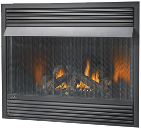 Image of Napoleon Grandville 42 vent free gas fireplace with Black Louvres