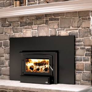 """Osburn 1700 Wood Insert with Black Door Overlay Black Faceplate Trim and 44"""" W x 29"""" H Faceplate"""