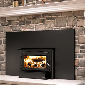 """Osburn 1700 Wood Insert with Black Door Overlay Black Faceplate Trim and 50"""" W x 32"""" H Faceplate"""