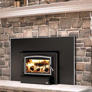 Osburn 1700 Wood Insert with Brushed Nickel Door Overlay and Faceplate Trim and 44 by 29 Faceplate