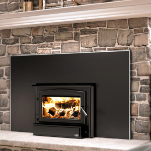 Osburn 1700 Wood Insert with Black Door Overlay Brushed Nickel Faceplate Trim and 50 by 32 Faceplate