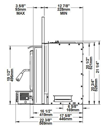 Osburn 1700 OB01705 wood insert side dimensions
