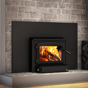 Osburn 2000 Wood Insert with Black Door Overlay and Faceplate Trim and 50 inch by 32 inch faceplate