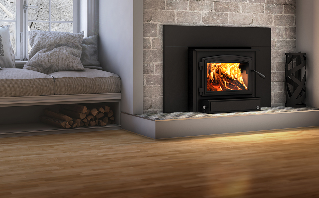 Osburn 2000 Wood Insert shown installed in living room fireplace