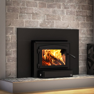Osburn 2000 Wood Insert with Black Door Overlay and Faceplate Trim with 44 inch by 29 inch faceplate