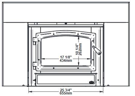 Osburn 2000 wood insert front dimensions