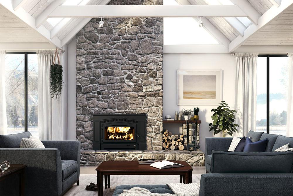 Osburn Matrix 2700 wood insert in living room