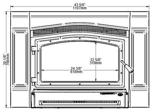 Osburn Matrix 2700 wood insert front view dimensions