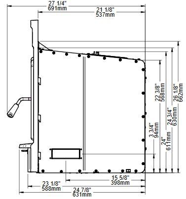 Osburn Matrix 2700 wood insert side view dimensions