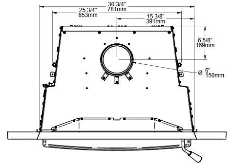 Osburn Matrix 2700 wood insert top view dimensions