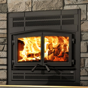 Osburn Stratford II wood fireplace with prairie style faceplate and black door