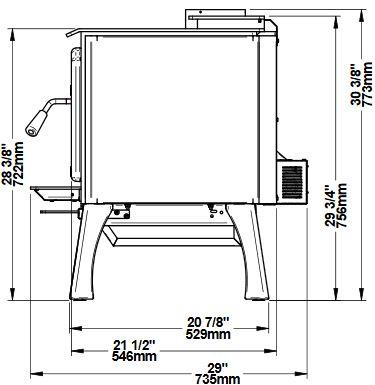 Osburn 2000 wood stove side view dimension diagram