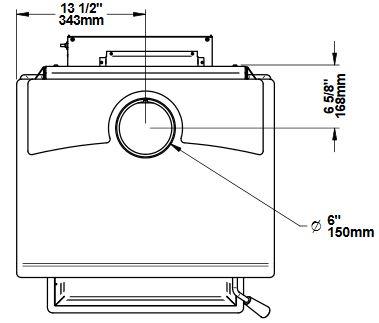 Osburn 2000 wood stove top view dimension diagram