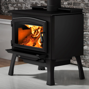 Osburn 2000 Wood Stove shown with Black Door Overlay and Black Cast Iron Structural (Straight) Leg Kit with Ash Drawer