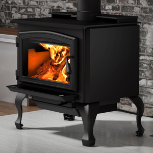 Osburn 2000 Wood Stove shown with Black Door Overlay and Black Cast Iron Traditional Leg Kit with Ash Drawer