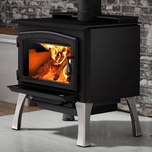 Osburn 2000 Wood Stove shown with Black Door Overlay and Brushed Nickel Cast Iron Structural (Straight) Leg Kit with Ash Drawer